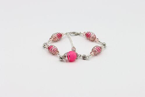 Caged Agate Bracelet - Pink