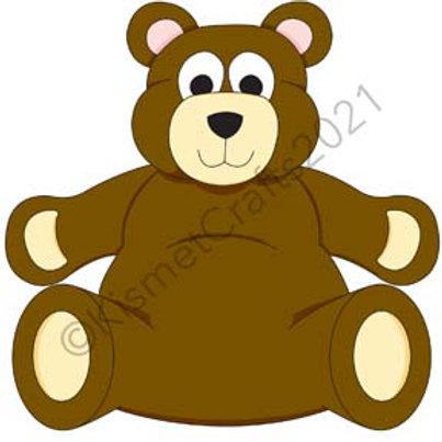Teddy Bear Shaped Card - Brown