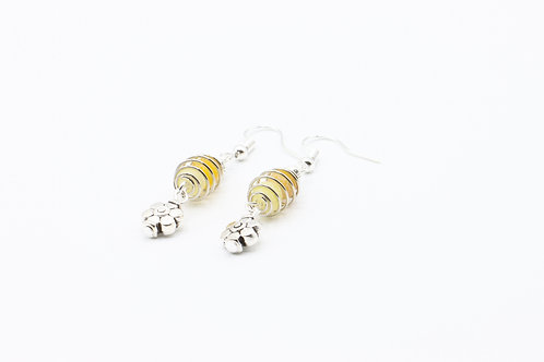Caged Agate & Flower Drop Earrings - Yellow