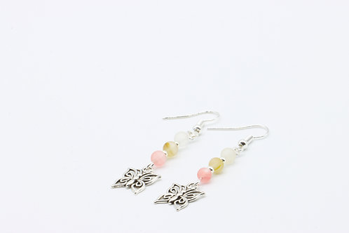 Cherry Quartz & Butterfly Drop Earrings