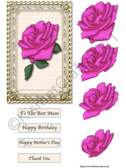 Rectangle Framed Decoupage - Pink Rose