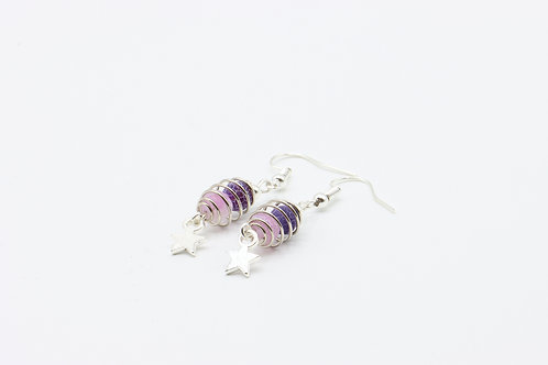 Caged Agate & Star Drop Earrings - Purple