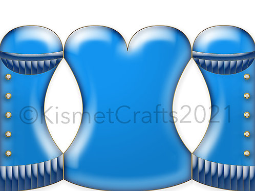 Satin Corset Shaped Card - Blue