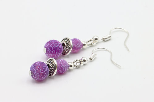 Frosted Cracked Agate Drop Earrings - Lilac