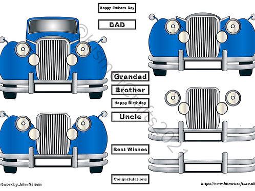 Classic Car Decoupage - Blue