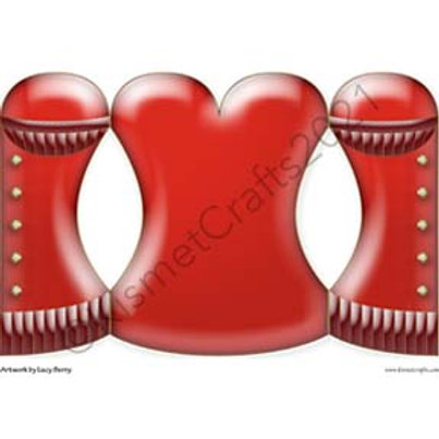 Satin Corset Shaped Card - Red