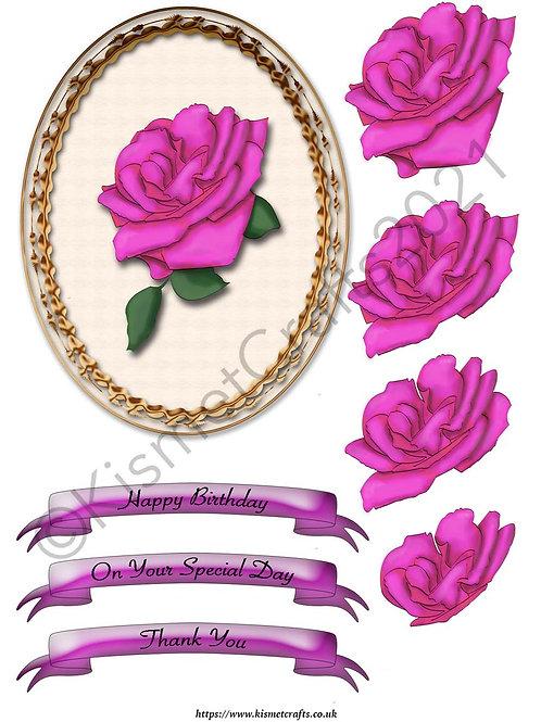Oval Framed Decoupage - Pink Rose