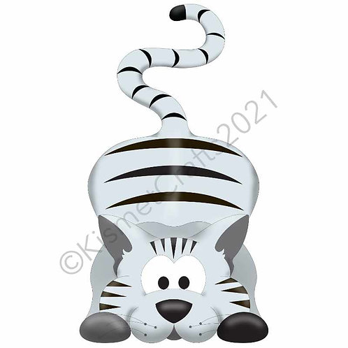 Kitty Shaped Card - Silver Tabby