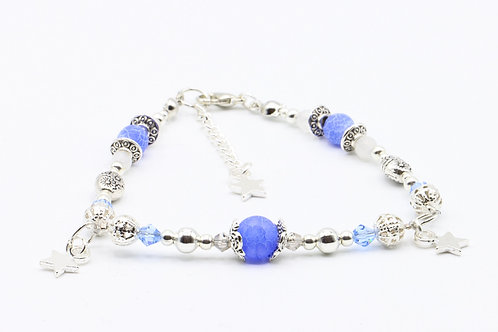 Frosted Cracked Blue Agate & Rainbow Moonstone Bracelet