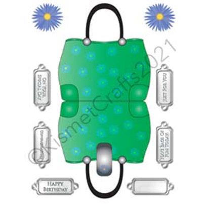 Flower Handbag Shaped Card - Green
