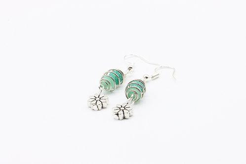 Caged Agate & Flower Drop Earrings - Green