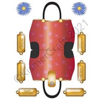 Flower Handbag Shaped Card - Red