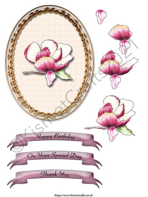 Oval Framed Decoupage - Magnolia