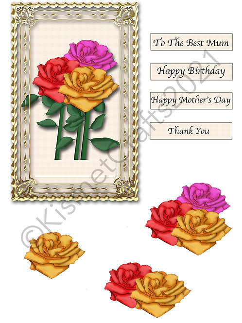 Rectangle Framed Decoupage - Bunch of Roses