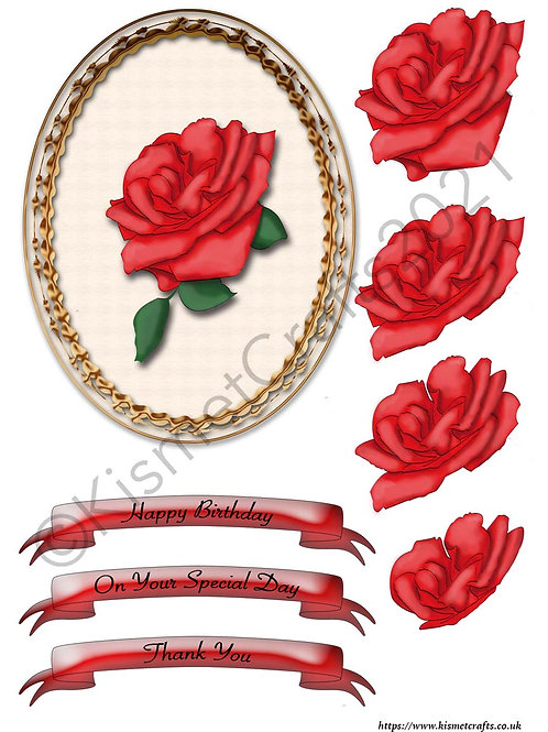 Oval Framed Decoupage - Red Rose
