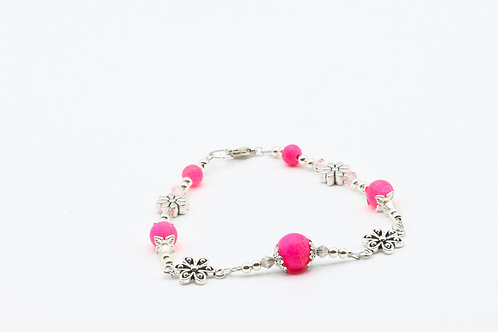 Frosted Cracked Agate Bracelet - Bright Pink