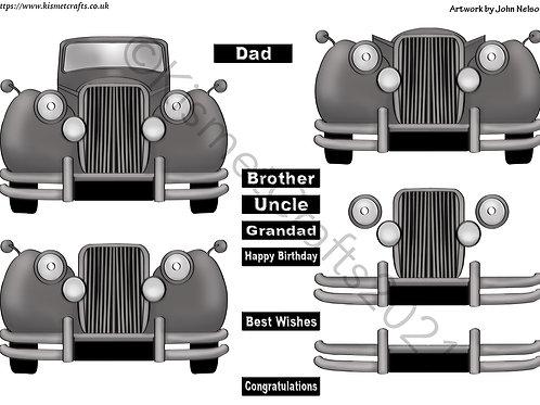 Classic Car Decoupage Card - Black
