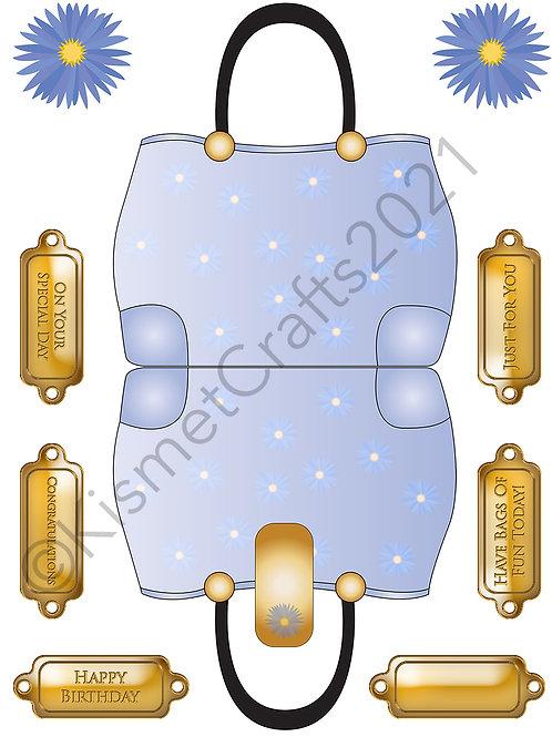 Flower Handbag Shaped Card - Blue