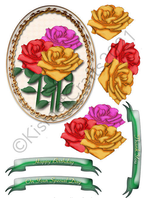 Oval Framed Decoupage - Bunch of Roses