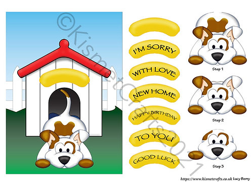 Playful Puppy Quick Card - Brown Patch