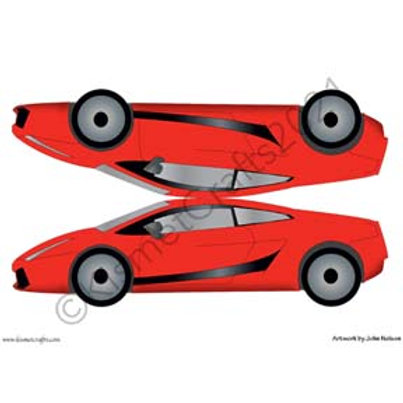 Italian Sports Car Shaped Card - Red