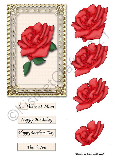 Rectangle Framed Decoupage - Red Rose