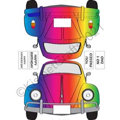 Funbug Car Shaped Card - Rainbow