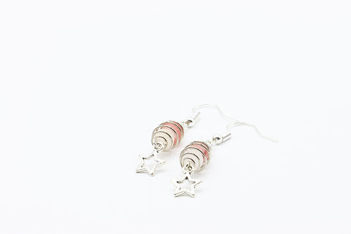 Caged Cherry Quartz & Star Drop Earrings - Cherry