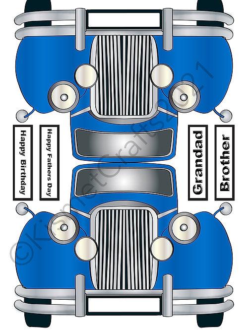 Classic Car Shaped Card - Blue