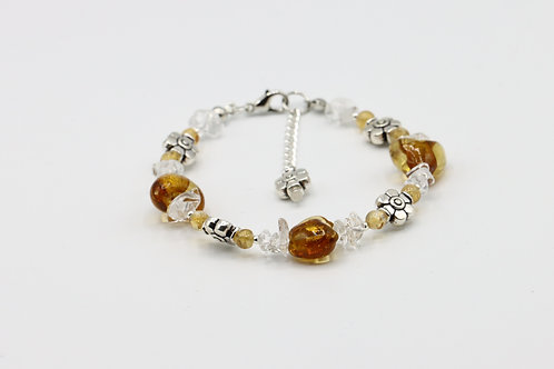 Citrine Yellow Heart Bracelet
