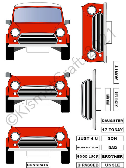 Teeny Car Decoupage - Red