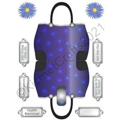 Flower Handbag Shaped Card - Purple