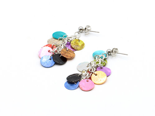 Nacre Disc Drop Earrings - Multicoloured