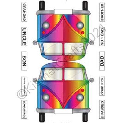 Camper Van Shaped Card - Rainbow