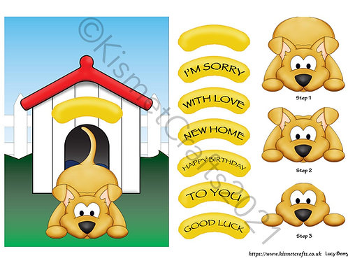 Playful Puppy Quick Card - Brown