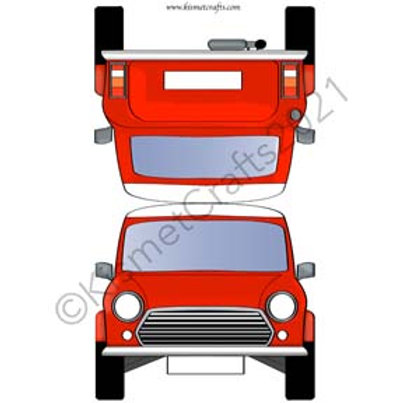 Teeny Car Shaped Card - Red