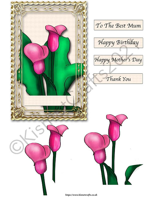 Rectangle Framed Decoupage - Pink Lily