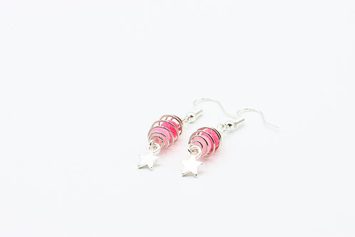 Caged Agate & Star Drop Earrings - Pink