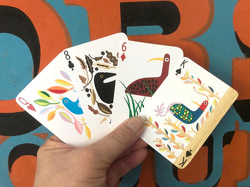 Five  Playing Card Decks with 55 hand-cut bird collages