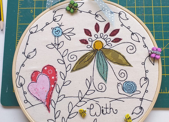 With Love - Free Motions Embroidery Hoop Kit