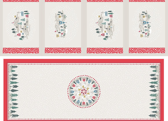 Snowy Day Table Centre and Placemats Panel