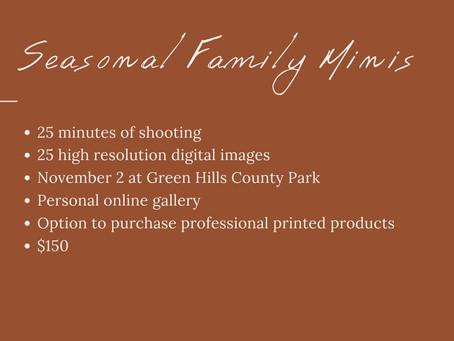 Seasonal Family Mini Sessions!