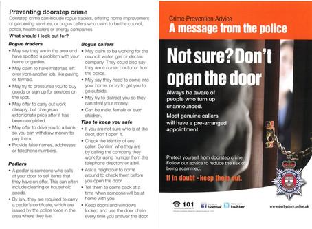 Door Step Advice following Recent Persons going door to door in the area