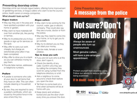Door Step Advice following Recent Persons going door to door in the area