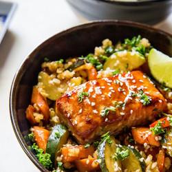 Teriyaki Glazed Salmon With a Lime Finish