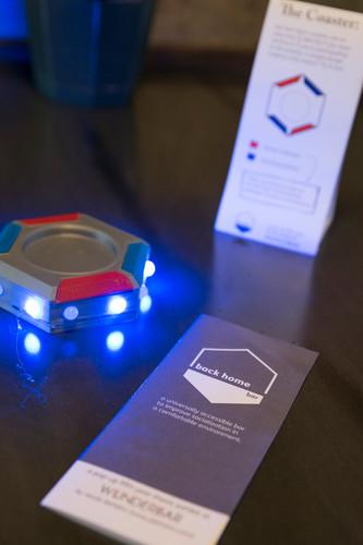 Special hexagon 3D coaster with blue lig