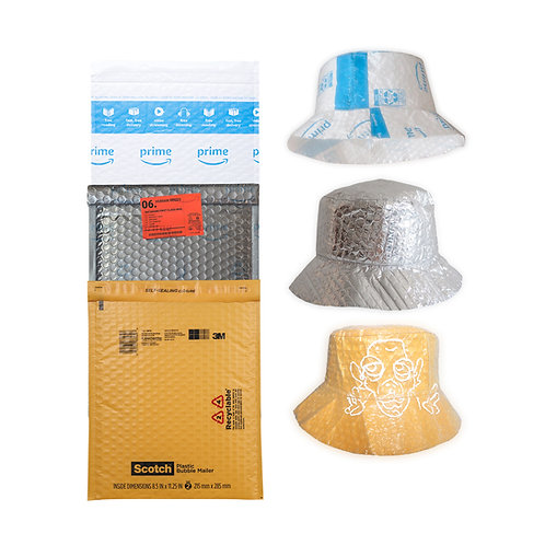 REUSED BUBBLE MAILER POLY BAG WASTE FREE HAT