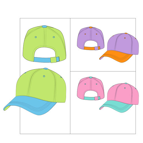 VECTOR AI DAD HAT FASHION TECHNICAL FLAT TEMPLATE
