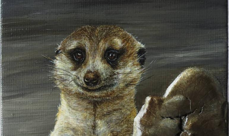 Acrylics on mini canvas, with crackling medium