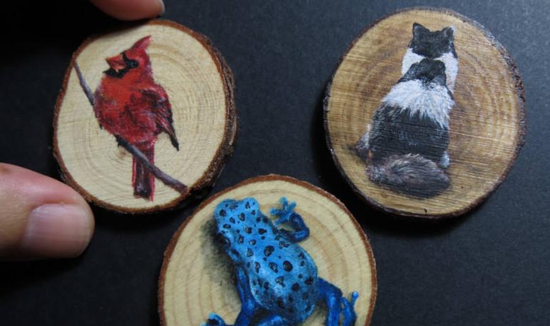 Acrylics on wood discs